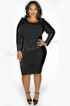 Leather Trim Body Contour Dress, $46.99 by Thick Chic Boutique