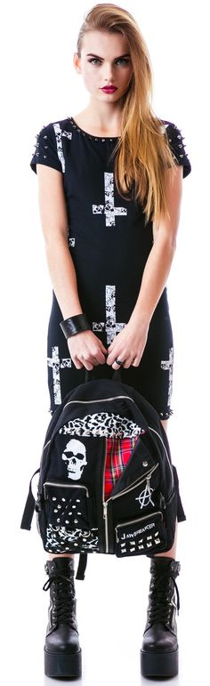 i funking love this bag and i want it so badly if i had it i just everything for me Silverstop Oi Punk Vest Backpack | Dolls Kill