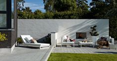 white wall, inbuilt fireplace