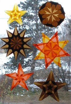Decorating for Autumn and Thanksgiving using translucent window stars (by Pictures by Ann, via Flickr)
