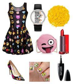 """Emoji madness 😋😘"" by allweare on Polyvore featuring Geneva, Betsey Johnson, Illamasqua, Maybelline and Olivia Miller"