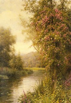 .Louis Aston Knight - A Flowering Vine along a Winding Stream with a Country Church Beyond