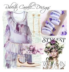 """""""Lavender...Cavalli"""" by onesweetthing on Polyvore featuring Roberto Cavalli, KAROLINA, Aquazzura and Ted Baker"""