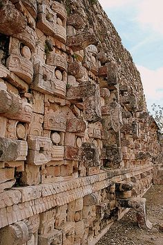 Temple of the Masks - Codz Poop, Kabah, Yucatan, Mexico ~ a Maya archaeological site in the south-east of the Mexican state of Yucatán. Photo by Stephen Depilo Mayan Ruins, Ancient Ruins, Ancient History, Ancient Greek, Mayan History, European History, Ancient Artifacts, Ancient Egypt, American History