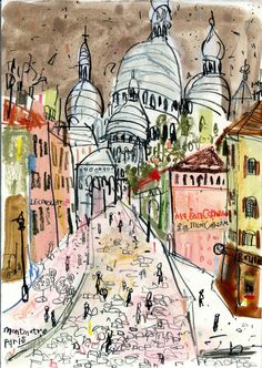 Sacre Coer Montmartre ~ Claire Caufield. A great print for a lover of all things Paris. The Sacre Coer really is a magical monument to behold and the colours of this print would certainly add some life to a dull room. #paris #print