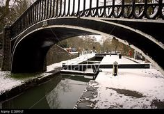 Snow at Isis Lock, the South Oxford Canal, Oxford