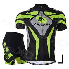 Nuckily MA005MB005 Mens Cycling Short Sleeves Jersey Clothes + Pants Set - Green + Black (L)