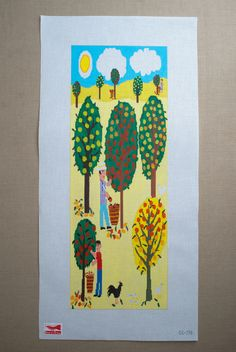 Apple Picking from Birds of a Feather: This quirky, fun canvas from Birds of a Feather depicts a family orchard at harvest time. The Apple Picking needlepoint canvas is a hand painted 18:1 mesh with finished measurements of 22 by 8 inches. (Needlepoint yarn is not included, but we'd be happy to help you choose colors! Just let us know in the special instructions section when you check out.)  $197.00