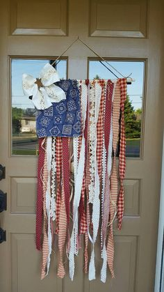Items similar to Tattered Flag Decor on Etsy - Diy Poject Ideas Fourth Of July Decor, 4th Of July Decorations, July 4th, 4th Of July Wreath, Fourth Of July Crafts For Kids, Bbq Decorations, Americana Crafts, Patriotic Crafts, Western Crafts
