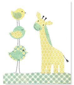Giraffe Art Print Bird Nursery Art Yellow by SweetPeaNurseryArt, $15.00