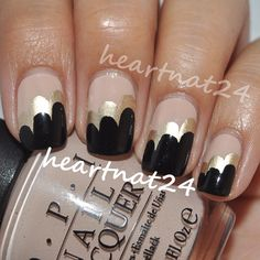 Cloud mani using OPI Don't Pretzel My Buttons, Essie Good as Gold, and OPI Black Onyx @heartnat24