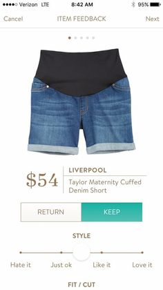 Liverpool Taylor Maternity Cuffed Denim Short