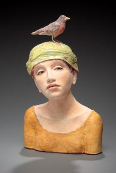 yellow - woman with bird - figurative ceramic - Anne Gregerson Pottery Sculpture, Sculpture Clay, Pottery Art, Sculptures, Ceramic Figures, Clay Figures, Ceramic Art, Ceramic Sculpture Figurative, Arte Fashion