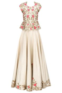 Champagne gold and pink floral embroidered peplum top and skirt set available only at Pernia's Pop Up Shop.