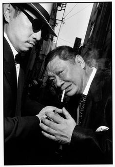 Bruce Gilden JAPAN. Asakusa. 1998. George ABE, right, an ex-Yakuza member and celebrity writer