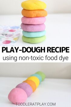 This easy-to-make play-dough recipe is super quick to make and requires only a few ingredients. It's amazingly soft, stretchy and the best part of all, non-toxic! You'll be so pleased with this recipe you won't want to get the store-bought kind anymore! Fun Activities For Kids, Fun Crafts For Kids, Toddler Crafts, Best Playdough Recipe, Homemade Playdough, Toxic Foods, Food Dye, Play Dough, Few Ingredients