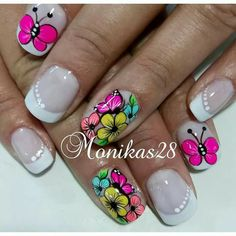 Mani Pedi, Pedicure, Fingernail Designs, Nail Designs Spring, Toe Nails, Rainbow Colors, Flower Designs, Nail Art, Nail Jewels
