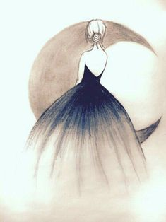 Illustration Moon Art is the way u imagine. No imagination no art. & nothing is better tha. Girl Drawing Sketches, Girly Drawings, Art Drawings Sketches Simple, Pencil Art Drawings, Beautiful Drawings, Cool Drawings, Drawing Ideas, Beautiful Images, Drawing Tips