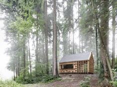 house for forest owls by Bernd Riegger 1 600x444 Forest Cabin by Bernd Riegger Offers Sanctuary in the Wild