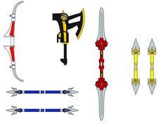 Here are the weapons for the Mighty Morphin' (cubee) Power Rangers. Enjoy.