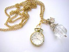 Vintage Urban Pocket Watch Necklace Gold Colored