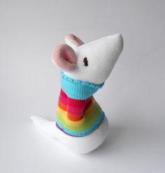 white stuffed mouse,  baby mouse toy , sock animal nursery toy, stuffed animal plush Kids toy, rainbow striped