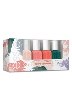 Free shipping and returns on essie® 'Spring 2016' Mini Four-Pack (Limited Edition) at Nordstrom.com. This collection of mini nail polishes by essie feature beautiful spring color and gorgeous opaque finishes.Shades include:- High Class Affair- Lounge Lover- Sunshine State of Mind- Off TropicHow to use: Apply your choice of base coat followed by two coats of your favorite nail polish. Finish with a top coat.