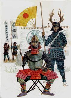 Tokugawa Ieyasu sitting - battle of Sekigahara 1600.  Honda Tadakatsu standing.  Background , ashigaru of the Tokugawa daimyate.