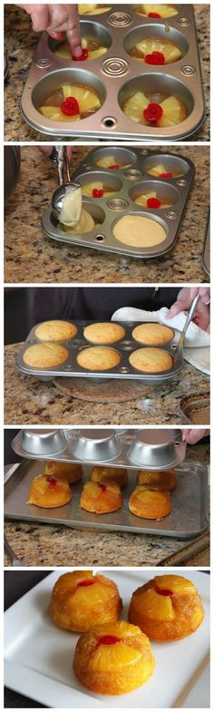 Pineapple Upside-Down Cupcakes These would make Nick so happy.Pineapple Upside-Down Cupcakes. These cupcakes are made with pineapple cake mix, crushed pineapple, and brown sugar. Cupcake Recipes, Cupcake Cakes, Dessert Recipes, Mini Cakes, Cup Cakes, Chef Recipes, Fruit Cupcakes, Yellow Cupcakes, Book Cakes
