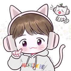 Baekhyun <credits to owner> Sehun, Kai Exo, Chanbaek, Exo Ot12, Exo Cartoon, Exo Stickers, Baekhyun Fanart, Exo Anime, Cute Couple Art