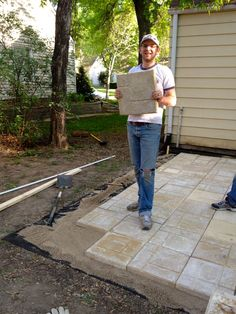 diy small paver patio | Bring on the yardwork- Part 1, Installing a Paver Patio