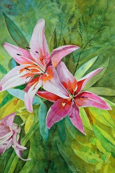 """""""Pink Lilies"""" Watercolor on paper 15"""" x 22"""""""