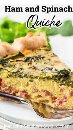 Breakfast Quiche, Breakfast Dishes, Breakfast Time, Breakfast Casserole, Breakfast Recipes, Quiche Recipes, Brunch Recipes, Casserole Recipes, Ham And Spinach Quiche