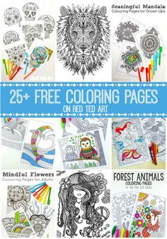 Free Coloring Pages for Adults - themed sets Free Coloring Pages for Adults - check out this fantastic set of Colouring Pages for Grown Ups. So many different themes and ideas to choose from. The lion is simply AWESOME! Bunny Coloring Pages, Coloring Pages For Grown Ups, Printable Adult Coloring Pages, Mandala Coloring Pages, Free Coloring Pages, Coloring Books, Egg Coloring, Easter Colouring, Coloring Sheets