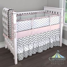 Crib bedding in Solid Silver Gray, White and Gray Polka Dot, Solid Pink, White and Gray Zig Zag, White and Gray Elephants, Gray and White Polka Dot. Created using the Nursery Designer® by Carousel Designs where you mix and match from hundreds of fabrics to create your own unique baby bedding. #carouseldesigns