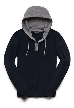 Hooded Henley Sweater | 21 MEN #21Men
