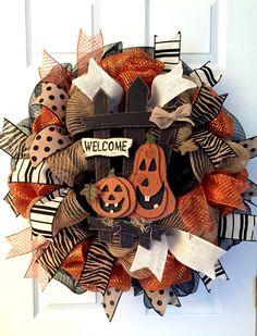 Only 1 left!! Halloween wreath, Pumpkin wreath, Boo wreath, Fall wreath, spooky wreath, autumn wreath, by ADressyDoor on Etsy https://www.etsy.com/listing/243334542/only-1-left-halloween-wreath-pumpkin