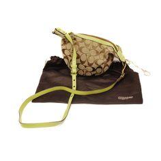 Coach Signature Canvas Green Leather Mini Crossbody Bag