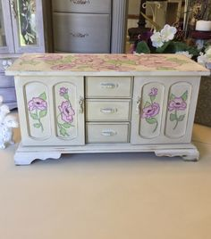 Musical Jewelry Box // Wooden Jewelry Box // Vintage Jewelry Console // Upcycled Shabby Chic Jewelry Box by ByeByBirdieDesigns on Etsy https://www.etsy.com/listing/476629018/musical-jewelry-box-wooden-jewelry-box