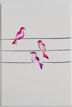 Pretty in Pink, Birds on a Wire Series No.1 - Original Watercolor by dabblelicious
