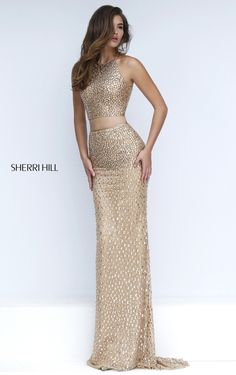 Gold 2 Piece Sherri Hill prom dress