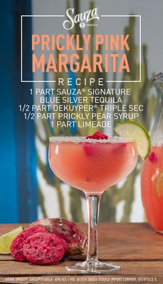 Tickled pink by the uniquely vibrant prickly pear, this Sauza® Tequila margarita is an easy way to add a little color to your day. For more exotic cocktail recipes, click to visit our website.   Directions: Rim glass with a lime then sugar (optional). Combine all ingredients in a shaker with ice and shake. Strain into glass and serve. Garnish with prickly pear slice and lime wedge (optional).