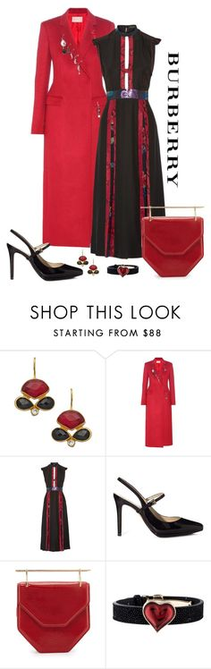 """""""Burberry Prorsum Silk Crepe Dress Look"""" by romaboots-1 ❤ liked on Polyvore featuring Kanupriya, Christopher Kane, Burberry, M2Malletier and Lalique"""