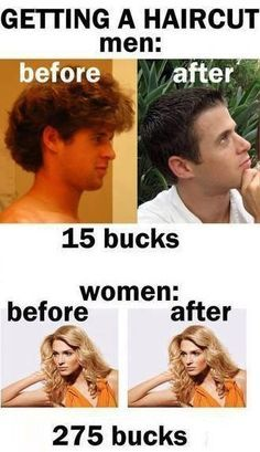 Guys vs girls, mach es möglich, haircut men, haircuts for men Funny Women Jokes, Funny Memes, It's Funny, Funny Pranks, Funny Videos, Haircut Funny, Haircut Men, Funny Hair, Guys Vs Girls