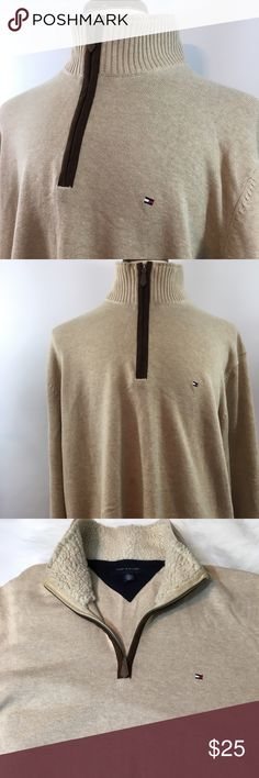 Men's Hilfiger Zip Up 2XL Sweater Men's Hilfiger 2XL Zip Up Sweater. In excellent pre used condition, free of any rips or stains and from a pet free and smoke free home. In Beige Color. Thanks for shopping my closet! Tommy Hilfiger Sweaters Zip Up