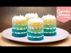 How to Make Mini Ombré Cakes, Cupcake Jemma. We all love an ombré cake right? Well how much better would they be if they were all mini? Watch my video and let me know! Recipe: For the . unsalted butter, soft caster sugar 4 lg eggs self Mini Tortillas, Cupcake Recipes, Cupcake Cakes, Owl Cakes, Fruit Cakes, Mini Cakes Tutorial, Cupcake Jemma, Ombre Cake, Giant Cupcakes