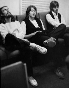 George, Paul and Ringo during Abbey Road album recording sessions, 1969.