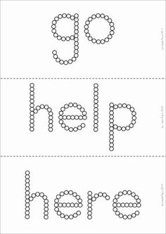 Sight Words - Q-Tip Printables (Pre-Primer Words). Great for fine motor skills! They can also be used with small sticker gems, gel and glitter pens, push pins, etc! Lots of fun for preschool and kindergarten students!