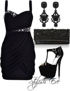 New Year's Eve Outfit: Black Dress With Rhinestone Peek-A-Boos