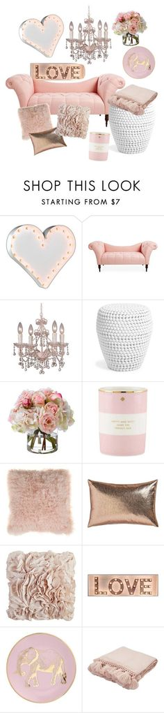 "I absolutely love the look of pink home decor as it is trendy and cute.  If you want a girly home decor theme then ths is a great choice.  Pink is a fun versatile color as it ranges from light pale pink to a deep dark pink.  Honestly my favorite pink home decor includes champagne pink, Lavender pink, orc    The love room"" by evelyn-anita on Polyvore featuring interior, interiors, interior design, home, home decor, interior decorating, Vintage Marquee Lights, Crystorama, Diane James and Kate…"